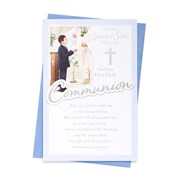 """Sons First Holy Communion Greetings Card - Boy & Priest with Silver Foil 9"""" x 6"""""""
