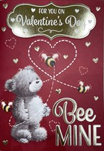 """Valentine's Day Card & Envelope Bee Mine Bear with Gold Foiled Hearts 7.25x5.25"""""""