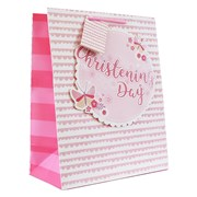 """Medium Pink Christening Girl Gift Bag - Pink Lilac Butterfly with Glitter 9x7"""""""