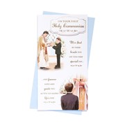 """First Holy Communion Greetings Card - Priest & Boy with Gold Foil  8.75"""" x 4"""""""