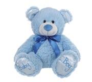 """10"""" Blue Baby Boy Teddy Bear Soft Toy Plush Wearing Blue Ribbon"""