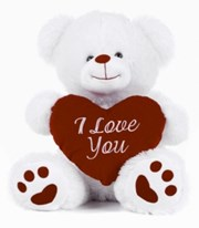"17.5"" White Teddy Bear Soft Toy Plush Holding Red 'I Love You' Heart"