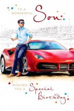 """Son Birthday Card - Young Man, Bright Sports Car & Boat Harbour Outline 9"""" x 6"""""""