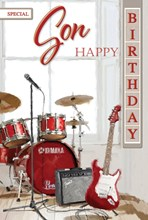 """Son Birthday Card - Bright Red Drum Kit, Electric Guitar & Microphone 9"""" x 6"""""""