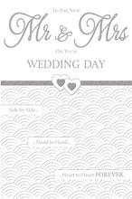"Wedding Day Greetings Card - Little Silver Metallic Mr & Mrs Love Hearts 9"" x 6"""