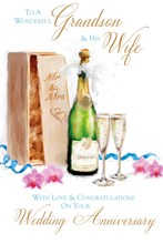 "Grandson & Wife Anniversary Card - Champagne, Flutes, Box & Pink Orchids 9"" x 6"""
