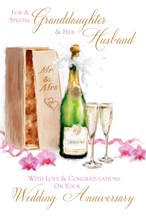 "Granddaughter & Husband Anniversary Card - Champagne & Dark Pink Orchids 9"" x 6"""