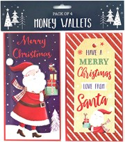 Pack Of 4 Christmas Money Wallet Gift Cards & Envelopes - Cute Santa Designs