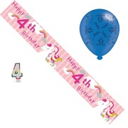 Age 4 Girl Birthday Party Pack - 4th Banner, Balloons, Number Candle