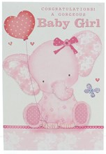 """Birth Of Baby Girl Card - Pink Elephant with Balloon & Glitter  7.75 x 5.25"""""""