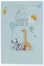 Birth Of Baby Boy Greetings Card - Animals With Balloons & Gold Foil  7.75x5.25""