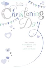 "Baby Boy Christening Day Greetings Card - Blue Hearts & Bunting 7.75"" x 5.25"""