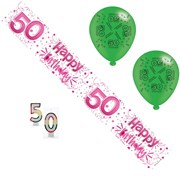Age 50 Female Birthday Party Pack - 50th Banner, Balloons, Number Candles