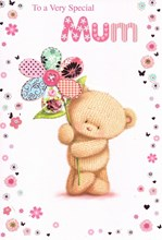 "Mum Birthday Card - Knitted Bear holding giant patchwork Flower 7.5"" x 5.25"""
