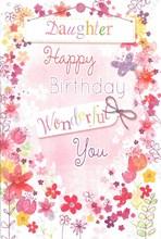 "Daughter Birthday Card - Pink Flowers, Bunting & Metallic Hearts 7.75"" x 5.25"""