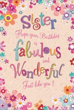 "Sister Birthday Card Pink Lilac Orange Blue Flower Border with Glitter 7.5x5.25"""