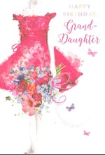 "Granddaughter Birthday Card - Woman, Hot Pink Dress & Big Flowers 7.75"" x 5.25"""