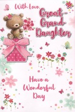 """Great Granddaughter Birthday Card - Bear Holding Flowers with Glitter 7.5x5.25"""""""