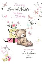 """Niece Birthday Card - Bear Gifts & Butterflies with Foil 7.5 x 5.25"""""""