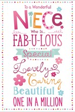 Niece Birthday Card - Multicoloured Text and Spot Border and Pink Foil 7.75x5.25