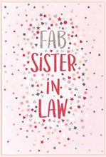 """Sister-in-Law Birthday Card - Pink with Tiny Hearts and Glitter 7.75x5.25"""""""