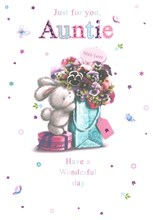"Auntie Birthday Card - White Rabbit, Pink Flowers & Tiny Butterfly 7.75"" x 5.25"""