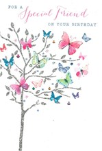 """Special Friend Birthday Card - Multicoloured Butterflies with Foil 7.75x5.25"""""""