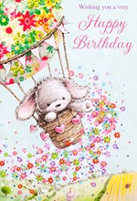 "Open Female Birthday Card - Grey Rabbit, Hot Air Balloon & Flowers 7.75"" x 5.25"""