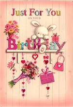 "Open Female Birthday Card - Grey Rabbit, Flowers, Presents & Shelf 7.75"" x 5.25"""