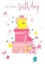 Open Female Birthday Card - Stacked Presents Butterflies Stars Glitter 7.75x5.25