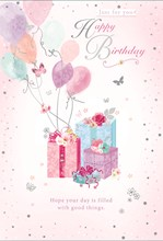 """Open Female Birthday Card - Gifts and Balloons with Silver Foil 7.75x5.25"""""""