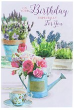 Open Female Birthday Card -Watering Can Pink Flowers Lavender & Glitter 7.7x5.25