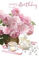 """Open Female Birthday Card - Pink Flowers & Candle with Glitter 7.75"""" x 5.25"""""""