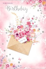 """Open Female Birthday Card - Bright Flowers inside Envelope with Foil 7.75x5.25"""""""