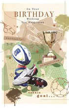 """Open Male Birthday Card -Rugby Ball & Football with Boots Trophy & Foil 7.5x5.5"""""""