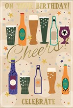 Open Male Birthday Card - Beer Bottles and Pint Glasses with Gold Foil 7.5x5.25