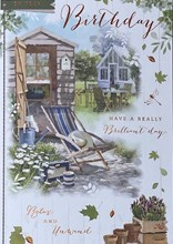"""Open Male Birthday Card - Garden Shed and Blue Deckchair with Foil 7.75x5.25"""""""