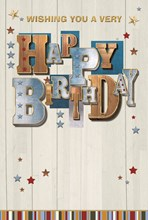 """Open Male Birthday Card -Blue & Brown Writing With Gold Foil & Stars  7.75x5.25"""""""