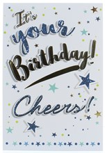"""Open Male Birthday Card - Foil Writing Cheers with Stars & Circles 7.75x5.25"""""""