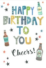 """Open Male Birthday Card - Beer Bottles Blue Green Writing Silver Foil 7.75x5.25"""""""