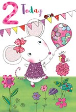 """Age 2 Girl Birthday Card - Pink 2, Mouse with Balloon & Flowers 7.75"""" x 5.25"""""""