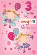 "Age 3 Girl Birthday Card - Fairy Princesses, Toy Rabbit & Balloons 7.75"" x 5.25"""