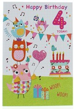 """Age 4 Girl Birthday Card - 4 Today Owls Birthday Cake Bunting & Gifts  7.5x5.25"""""""