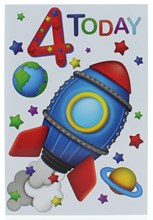 """Age 4 Boy 4th Birthday Card - Blue and Red Space Rocket Planets Stars 7.75x5.25"""""""