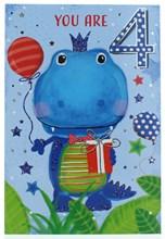 "Age 4 Boy Birthday Card - 4th Birthday Dinosaur with Balloon & Foil 7.75x5.25"""