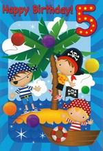 "Age 5 Boy 5th Birthday Card - Boy in Pirate Outfits on Desert Island 7.75x5.25"""
