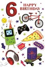 "Age 6 Boy Birthday Card - Red Foil 6, Bike Pizza Headphones & Stars 7.75 x 5.25"""
