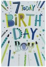"Age 7 Boy Birthday Card - Blue & Green Candles & Writing Silver Foil 7.75""x5.25"""