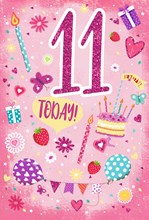 """Age 11 Girl Birthday Card - Glitter 11 Cake, Candles Balloons & Gifts 7.75x5.25"""""""