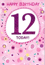 """Age 12 Girl Birthday Card - Pink Foil 12 Stars & Circles with Foil 7.75"""" x 5.25"""""""